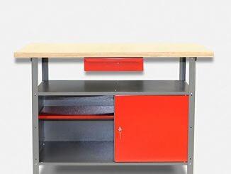 Kreher Metall Werkbank in Grau/Rot mit abschließbarer Tür